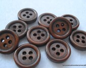 15mm Plain Wood Buttons Pack of 25 Dark Brown Buttons W1502