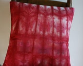 "Hand Dyed Pillow Cover ;  Red Pillow Cover ; Hand Dyed Fabric ; OOAK Pillow Cover ; 16"" x 16"" Pillow Cover ; Throw Pillow ; Toss Pillow"
