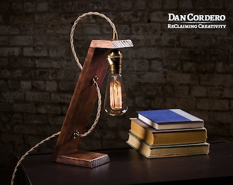Free Shipping | Wooden Edison Table Lamp | Desk Lamp | Bed Light | Night  Light