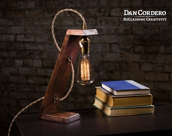 Wooden Edison Table Lamp | Limited Sale | Desk Lamp | Bed Light | Night Light | Lamp | Industrial | Edison Bulb