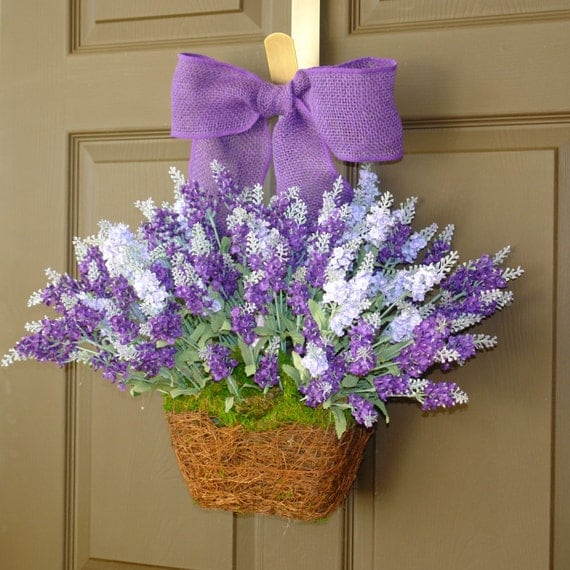 Items similar to summer wreaths lavender purple wreath Spring flower arrangements for front door