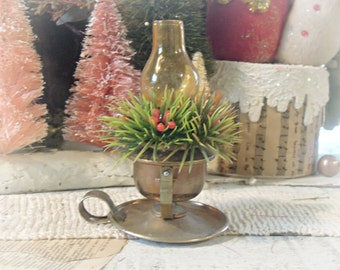 Vintage Mini Lantern with Faux Greenery / Christmas Decor / Christmas Ornament