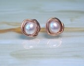 Pearl 14k Rose Gold Stud Earrings, Freshwater Pearl Stud Earrings, Wedding Jewellery, Pearl Earrings, Gift Ideas, Bridesmaids Gifts,