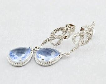Silver Dangle Earrings, Wedding Earrings, Blue Cubic Zirconia Dangles, Rhodium Silver Dangle