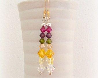 Swarovski Colorful Crystal Earrings -  Rainbow Handmade Beaded Earrings - Swarovski Crystal Earrings