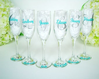 12 Personalized Bride and Bridesmaid Champagne Glasses - Monogrammed Toasting Flutes - Bridesmaid Champagne Flute - Wedding Party Flutes