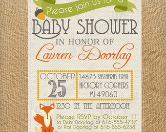 Woodland Fox Baby Shower Invitation, Acorn, Leaves, Fall, Gender Neutral, Digital File, Customizable, Printable
