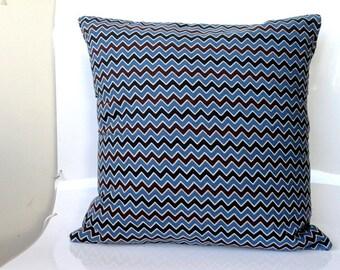 Indigo block print Pillow -Chevron Print throw pillow in black and Indigo, Chevron cushion cover