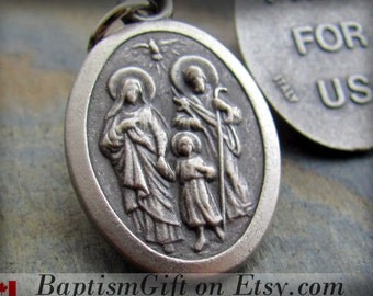 Holy Family Charm, Holy Family Necklace Medal Medallion Pendant, Catholic Jewelry, Confirmation Baptism Gift, Made in Italy, Godparents Gift