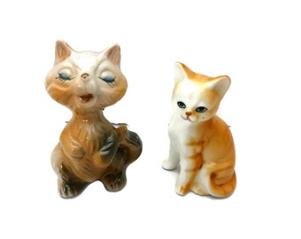 Cat Figurines Odd Pair of Friends Porcelain China