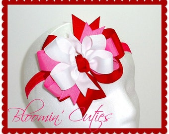 Red, Bubble Gum Pink and White TRIPLE-Stacked Grosgrain Ribbon Newborn Baby Toddler Girls Headband Bow by Bloomin' Cuties
