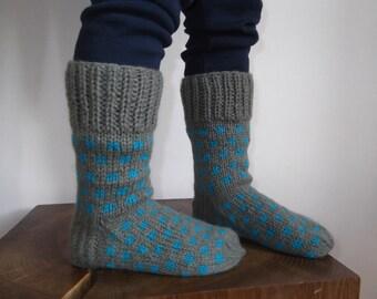 Hand knitted kids wool socks
