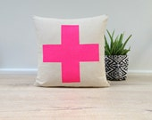 Cushion Cover, Pillow Cover, Throw Pillow - Neon Pink Cross - Linen Cotton 40x40cm
