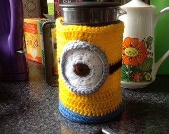 Crocheted cafetiere cosy - Minion inspired Despicable Me - Bodum cozy