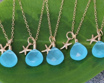Set of 6 starfish necklaces, BRIDESMAID GIFTS, Gold Starfish Gift,  Bridesmaid thank you cards, beach wedding, Maid of Honor, aqua necklace