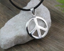 Sterling silver Peace Sign Necklace, Peace Necklace, Silver Peace sign Necklace. Choose your chain, Peace sign Jewelry. M-784