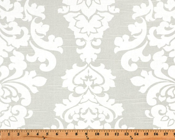 Gray White Berlin Large Scale Damask Curtains - Rod Pocket - 84 96 108 ...