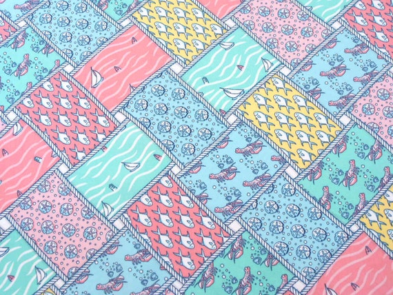Ocean fish lobster themed cotton fabric fq for Fishing themed fabric