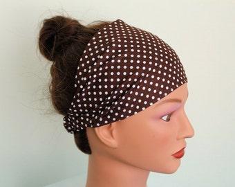 brown with white polka dots headscarf, yoga headband, headcover, hair band, wide headband, bandana headband