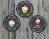 Cupcake Birthday Tag - Personalized Party Circles, Cupcake Toppers, Chalkboard, Party Printable, Digital Pdf File, Custom Label