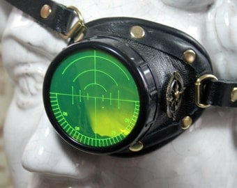Steampunk, Monocle, black leather, brass, target etched eye pieces,left eye monocle