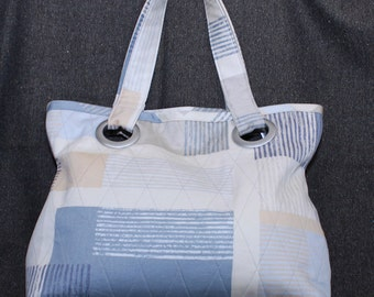 Quilted cotton tote bag with grommets