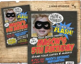 Superhero Invitation - DIY printable superhero invite in chalkboard style - Super hero birthday party invitation
