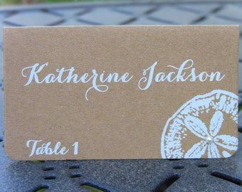 Customize Your Color, 10 BeachWedding, Bridal Shower, Baby Shower, Birthday Party Place Cards, Sand Dollar, Kraft, Pearl White Name Printing