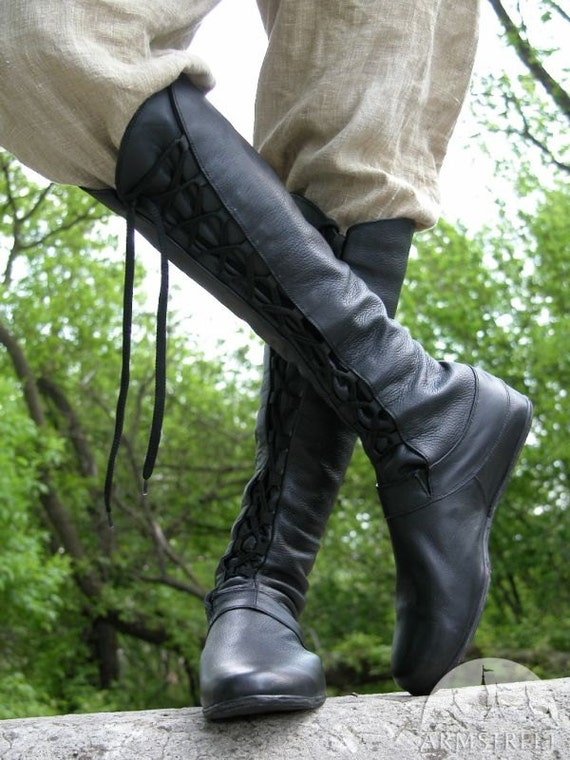 DISCOUNTED PRICE Medieval Men's High Leather Boots