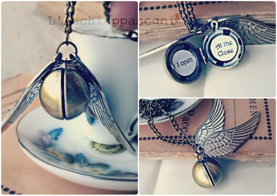 "Harry Potter Golden Snitch brass locket necklace ""I open at the close"""