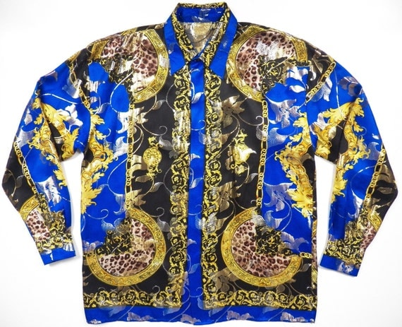 Baroque Gold and Blue Print Silk Shirt