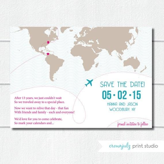 Map Elopement Announcement Save The Date Custom DIY Digital