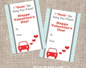 Car Valentine's Day Kids Classroom Card - Instant Download - Printable DIY - Boy Girl