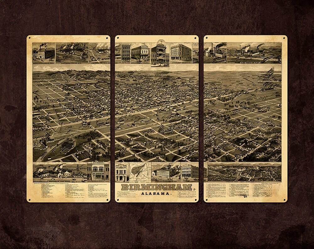 vintage birmingham alabama metal map triptych 36x24 free
