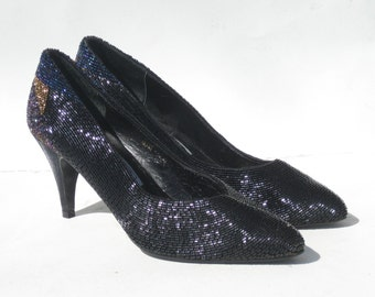 1980s super glamorous black, magenta, cobalt, and gold beaded heels - size 6.5 - 1980s black beaded shoes - 1980s black evening shoes