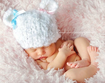 My Little Newborn baby white knitted Bear Hat perfect for Photography Props