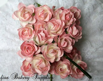 96 Little Paper Roses Pink White