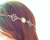Boho Antiqued Bronze Head Chain with Fire Gem Accent