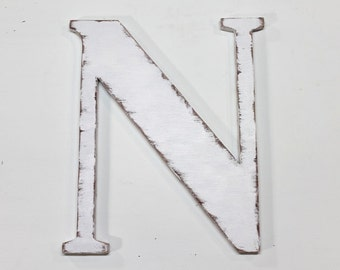 """Large wooden letter """"N"""", wall hung letters, 12 inches tall, home decor, shabby chic, distressed, alphabet, painted Vintage White"""