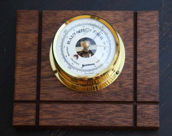 BENCHMARK Barometer Gauge Glass Brass Dial Mounted on Wood Plank Outdoor Enthusiasts Made in France Stormy Rain Fair Dry