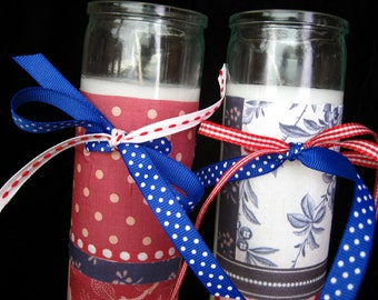 French Novena Candles with Ribbon Accents