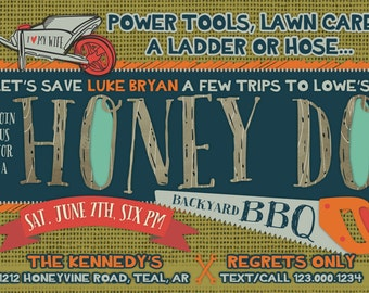 Honey Do BBQ - Shower Invitation - Digital or Printed