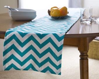"Blue Table Runner-Turquoise Chevron Table Runner.Turquoise & White Chevron Table Cloth- 12"" x  60"" or 12"" x 72"""