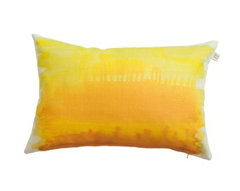 Pillow cover with abstract painting of African savanna, yellow, orange