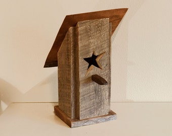 Barn wood birdhouse, birdhouse with railroad spike tip and copper roof