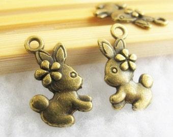 15pcs 10x19mm Antique Bronze Lovely 3D Rabbit Charm Pendant  Jewelry Supplies A2169-18A