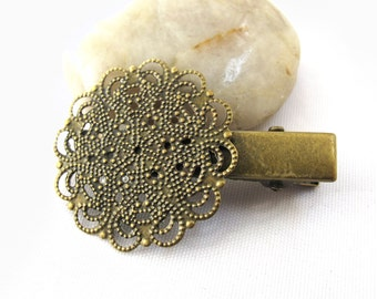 6pcs Antique Bronze Hair Clips Hair Pin Hairpin Bobby Pin with 30mm Large Round Flower 31x44mm A23572-27