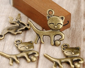 15 pcs 18x19mm Antique Bronze Lovely Cat Play Ball Charm Pendant  Jewelry Supplies A2349-19A