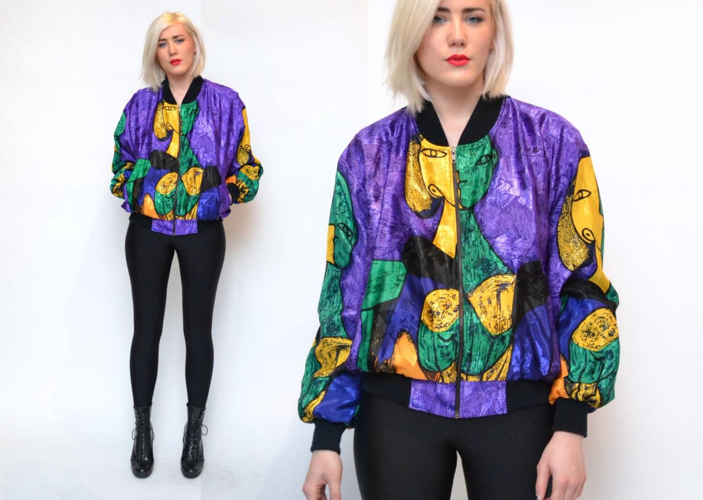 vintage 90s silk jacket pablo picasso bomber novelty