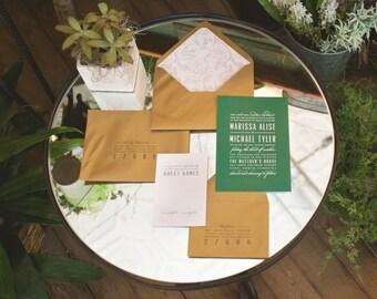 Gold Wedding Invitation, Green Wedding Invitation, Elegant Wedding Invitation, Classic Wedding Invitation, Modern Wedding Invitation